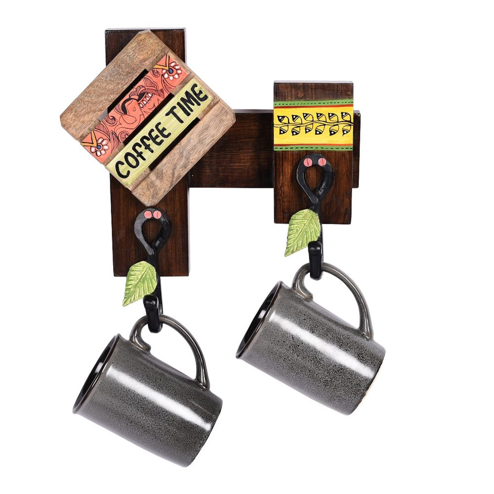 Cup Holder Handcrafted Wall Mounted & 2 Mugs (Set of 3) (10x3x10)
