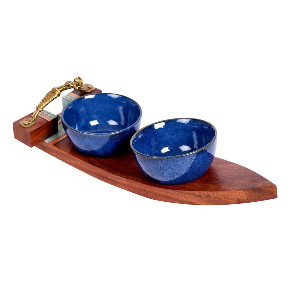 Bowls with Serving Tray 2 Ceramic Bowls (Set of 3)  (13x5.5x3)