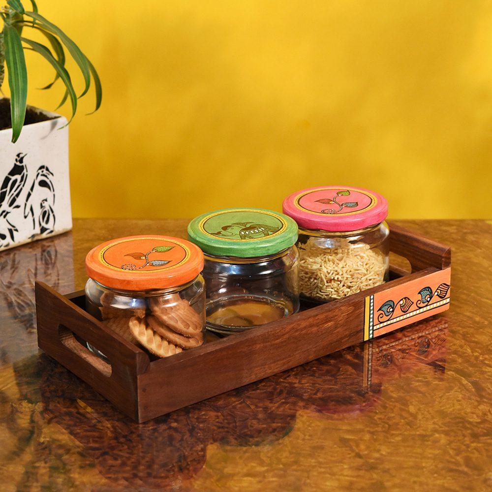 Tray in wood & 3 Glass Jars Madhubani Lid (Set of 4) (11.5x5.5)