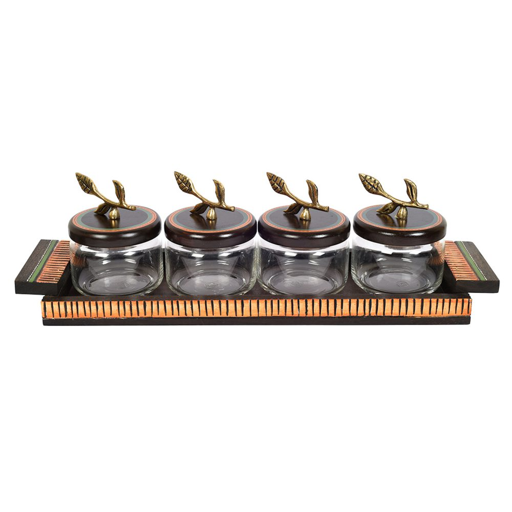 Tray Wooden & 4 Glass Jaar with Leaf Handle (Set of 5)  (17.5x5x6)