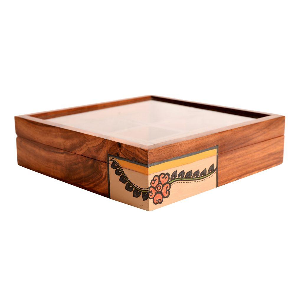 Jewelery Box Handcrafted 9 Slots Madhubani Wooden 8x8x2