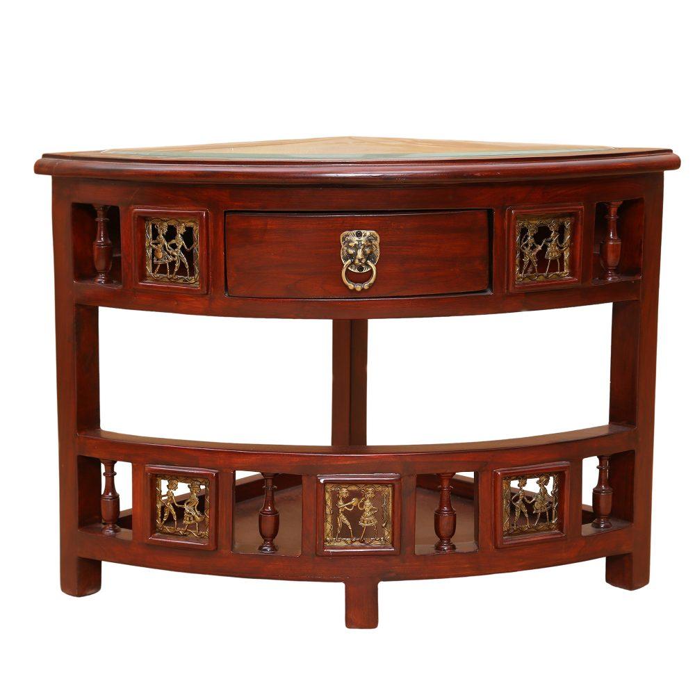 Quadro Teak Wood Corner Table with Storage in Walnut Finish (18x18x18)