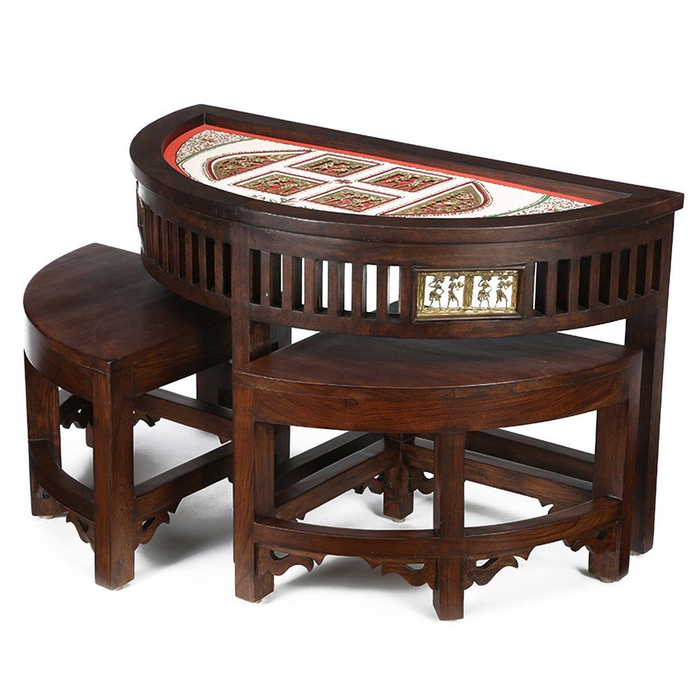 Soplar 2 Seater Coffee Table Set in Teakwood with Walnut Finish (36x18x17)