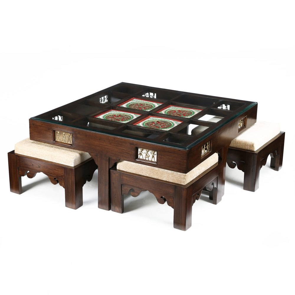 Donna Coffee Table in Teakwood with Walnut Finish (39x39x16)