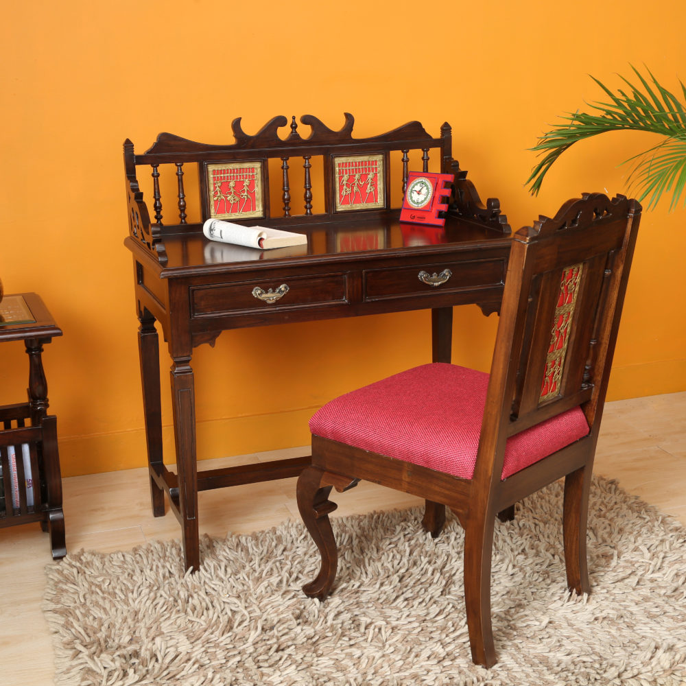 Ojasa Study Table in Teakwood with Moha Chair in Walnut Finish (36x18x40)