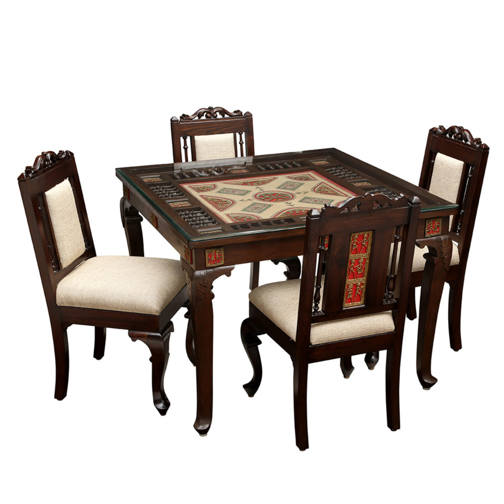 Aurum 4 Seater Dining Set in Teakwood with Walnut Finish (42x42x30)
