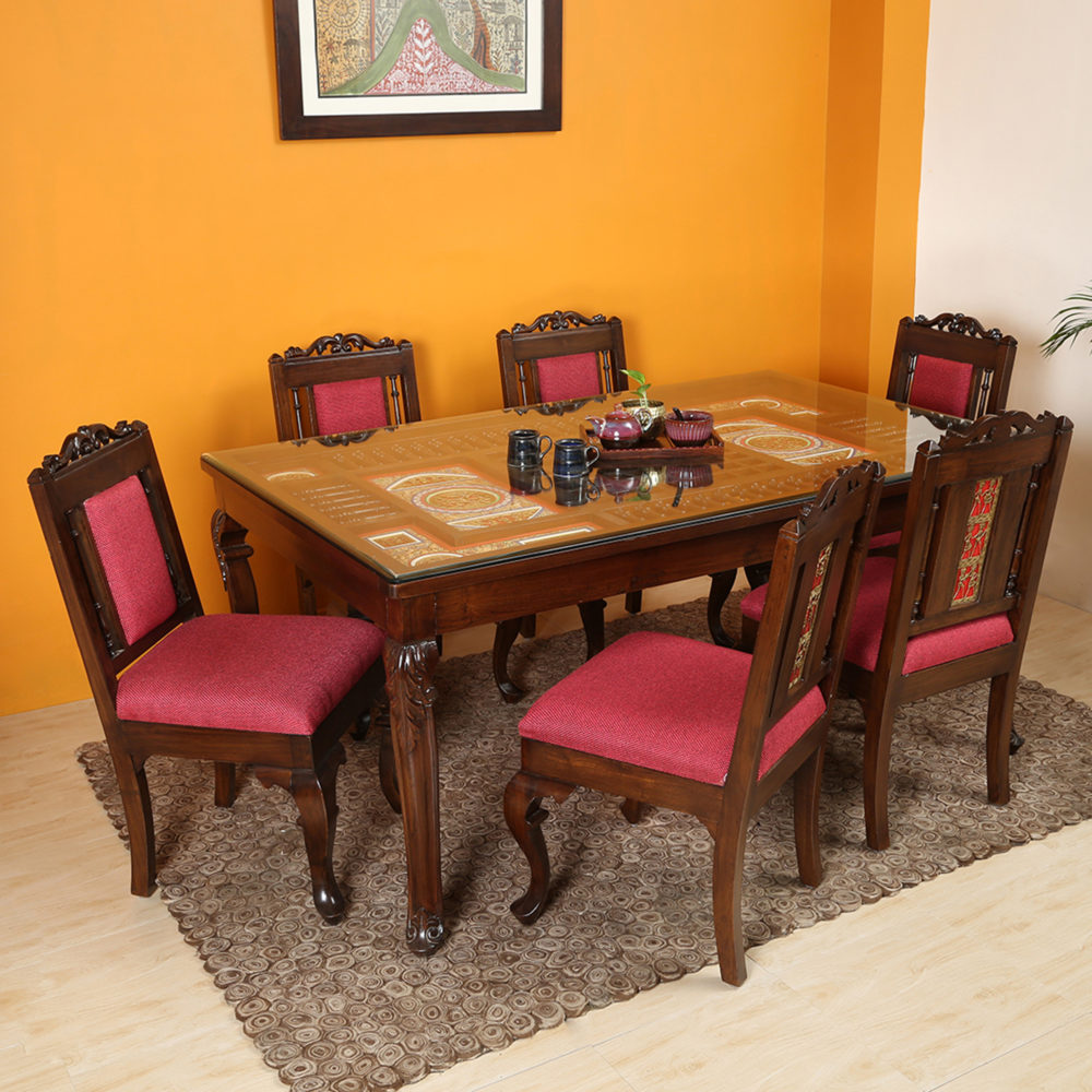Recto 6 Seater Dining Set in Teakwood with Walnut Finish (66x42x30)