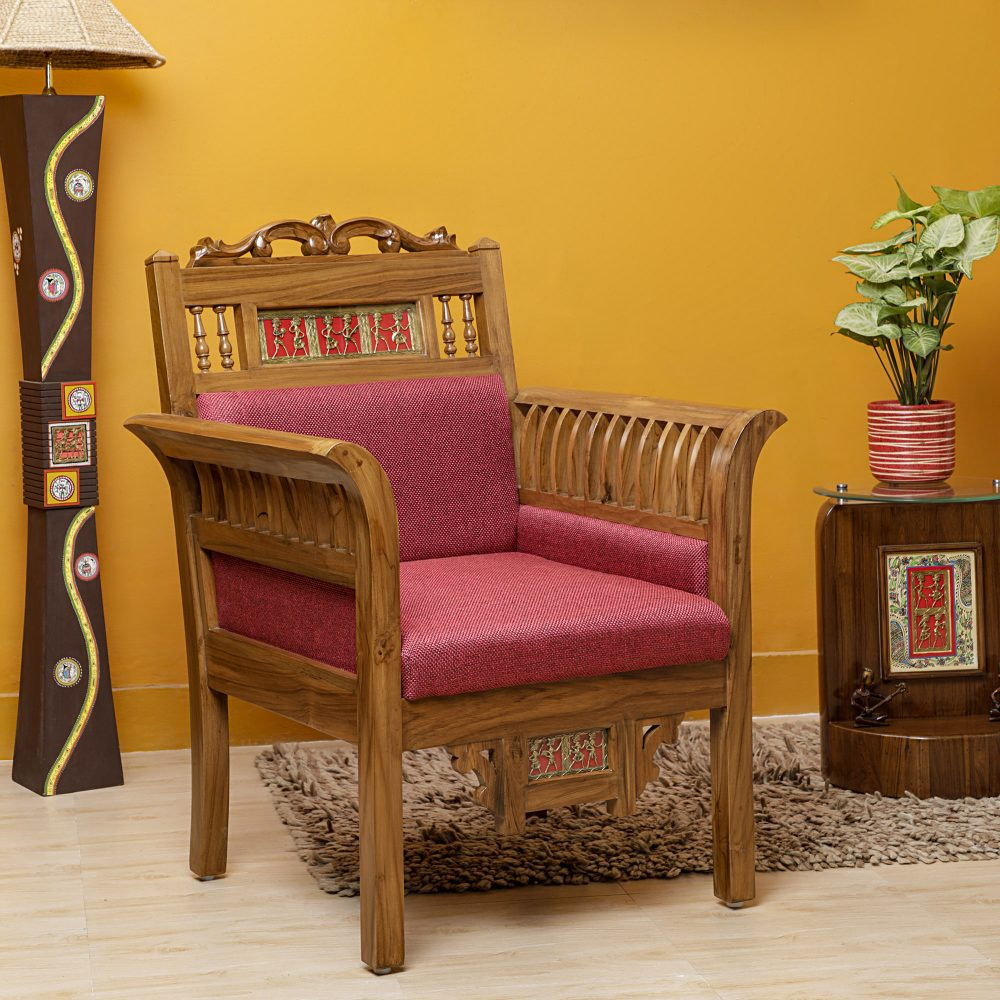 Maharaja-I Single Seater Sofa in Teakwood with Natural Teak Finish adorned with Dhokra Brass Frames and Maroon Upholstery (30x26x38)