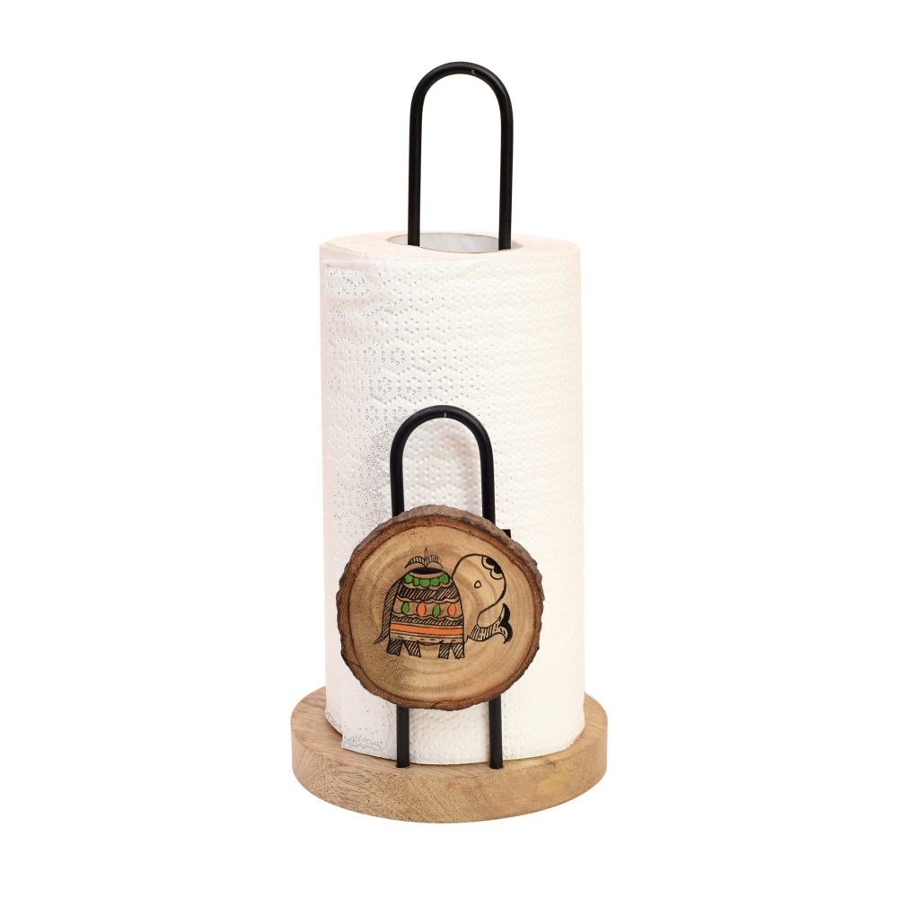 Tissue Roll Holder Table Top Style Handcrafted in Wood with Metal Dispenser (5x5x11)