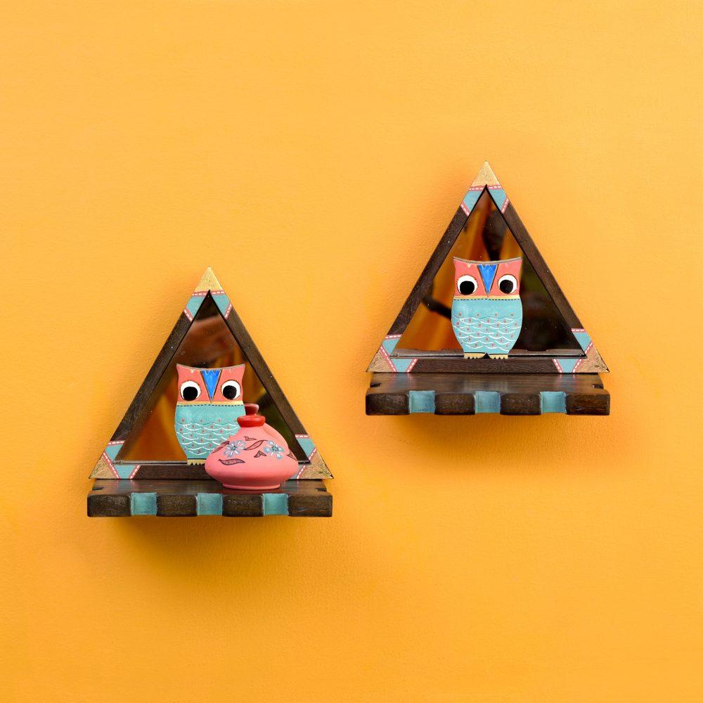 Triangular Wall Decor Shelves (Set Of 2) with Blue Owl Motifs set on Mirrors (7x4.7x7.2)
