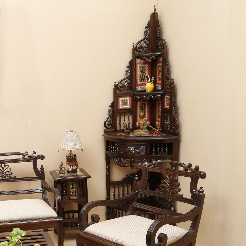 Quadro-III Teak Wood Corner Table with Storage and Carved Elevation in Walnut Finish (20x20x72)