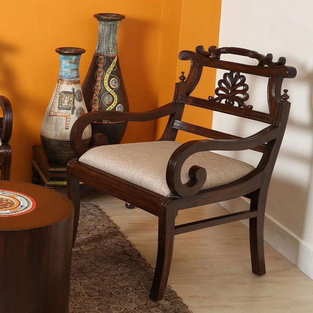 Marigold Single Seater Teak Wood Sofa (24x21x34)