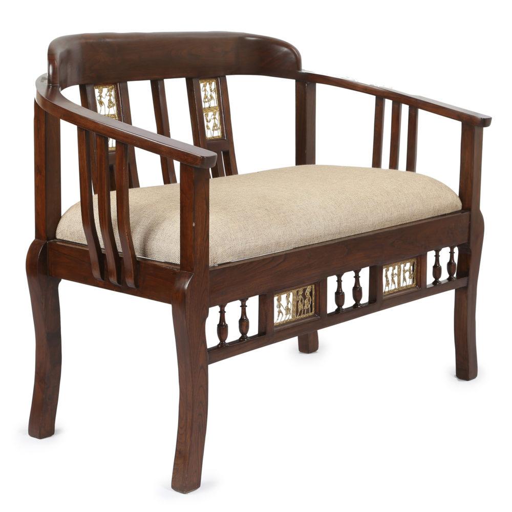 Espa Double Seater Sofa in Premium Teakwood in Walnut Finish (45x25x30)