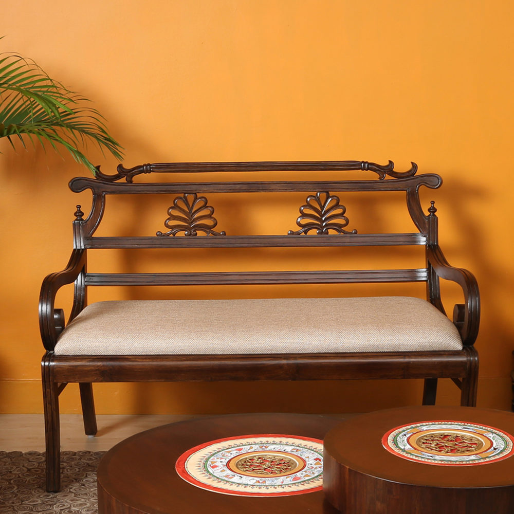 Marigold Bench Chair Two Seater In Teak Wood (48x21x34)