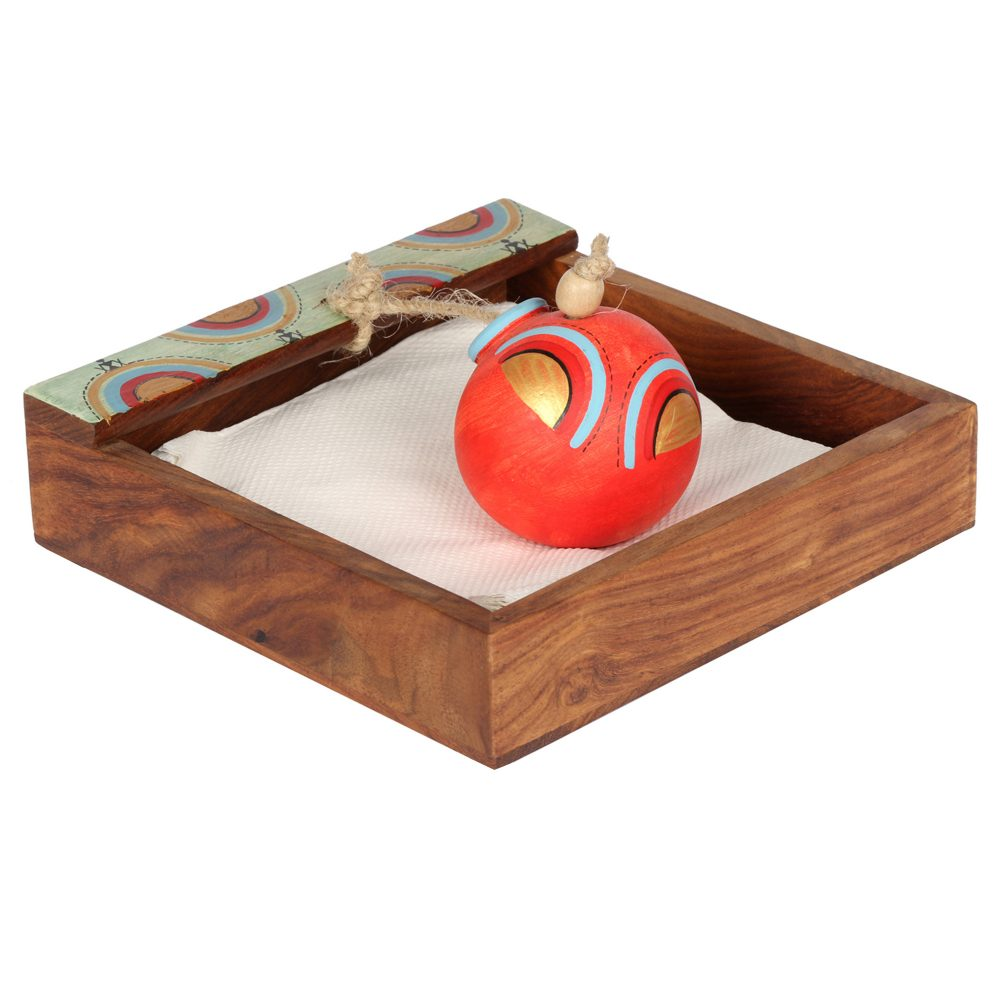 Tissue Holder in wood with Terracotta Pot paperweight Handpainted with Tribal Art (7x7x3)