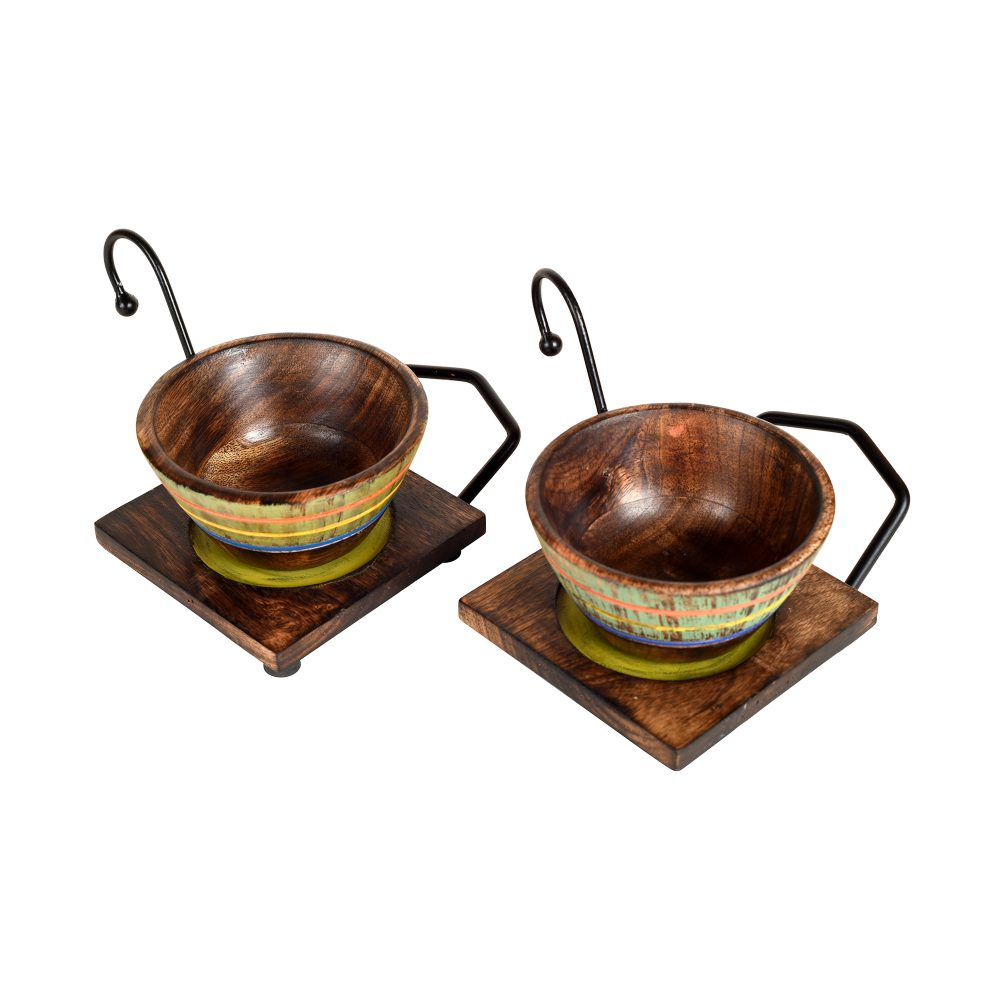 Hook-ed Snack Bowl with Square Tray Two Sets  (6.5x4x4.5/6.5x4x4.5)