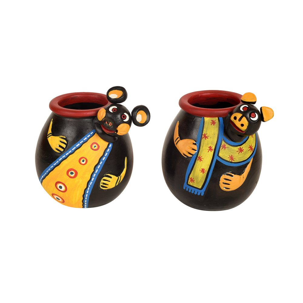 "Animal Heads Multipurpose Pots (So2) in Black & Yellow (3x3x3.5/3x3x3.5"")"