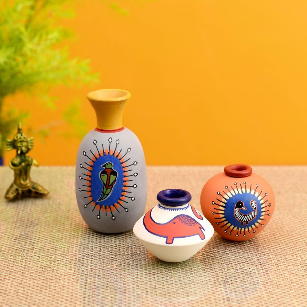 Happy Elephant Vases (So3) in Orange/Grey/White (2.5x5/2.5x2.5/2.5x2.5)