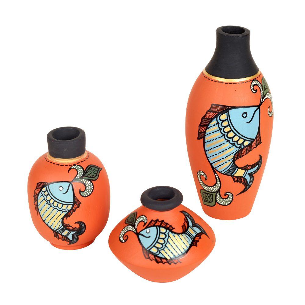 Happy Fishes Vases (So3) in Orange (2.5x5/2x3/2.5x2.5)