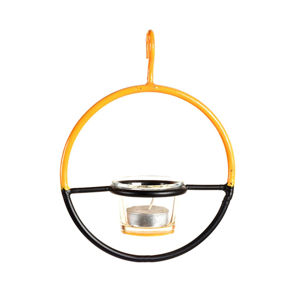 Candle Holder in Hanging Metal Ring (6x2x19)
