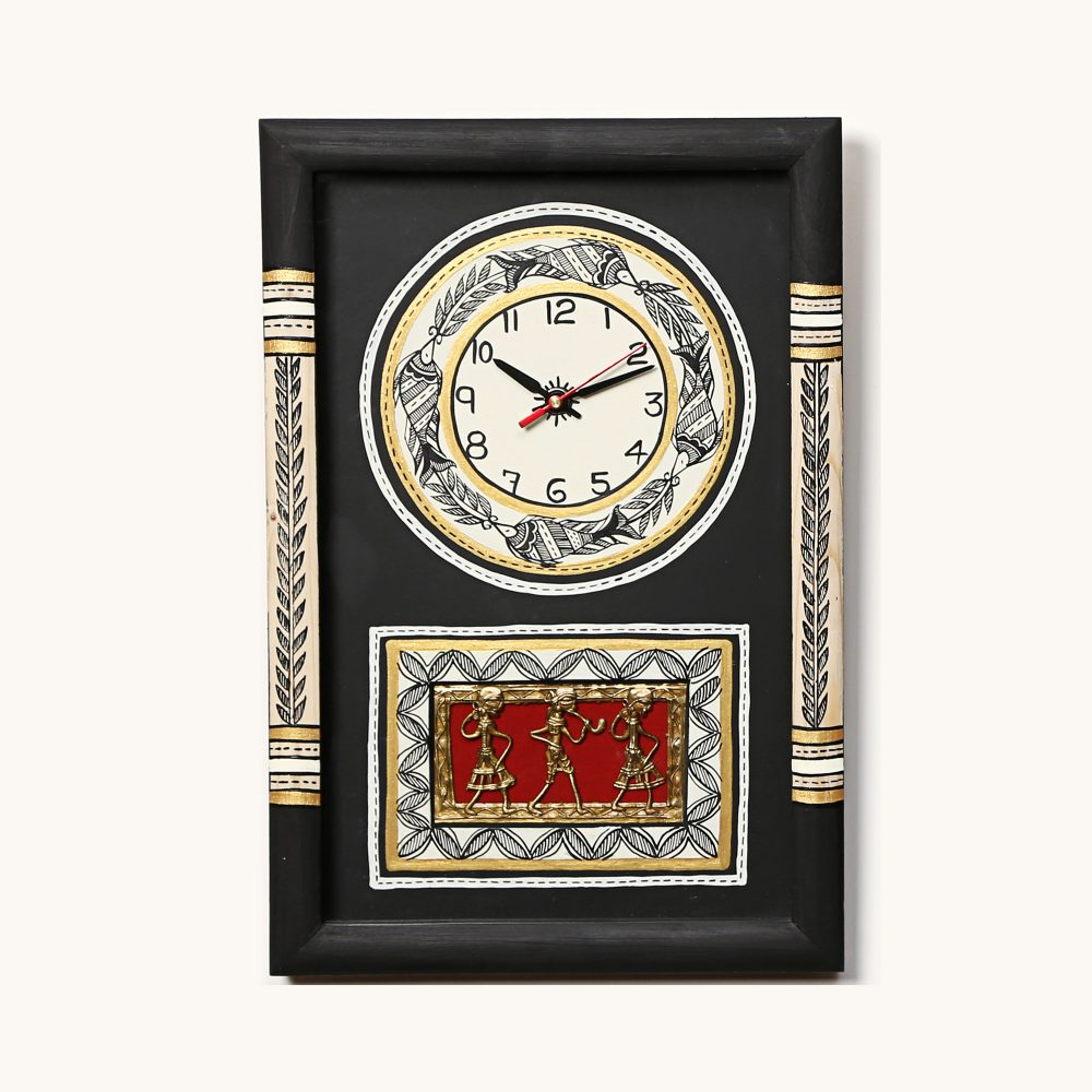 Wall Clock Handcrafted Warli/Dhokra Art Black Dial with Glass Frame (10x15)