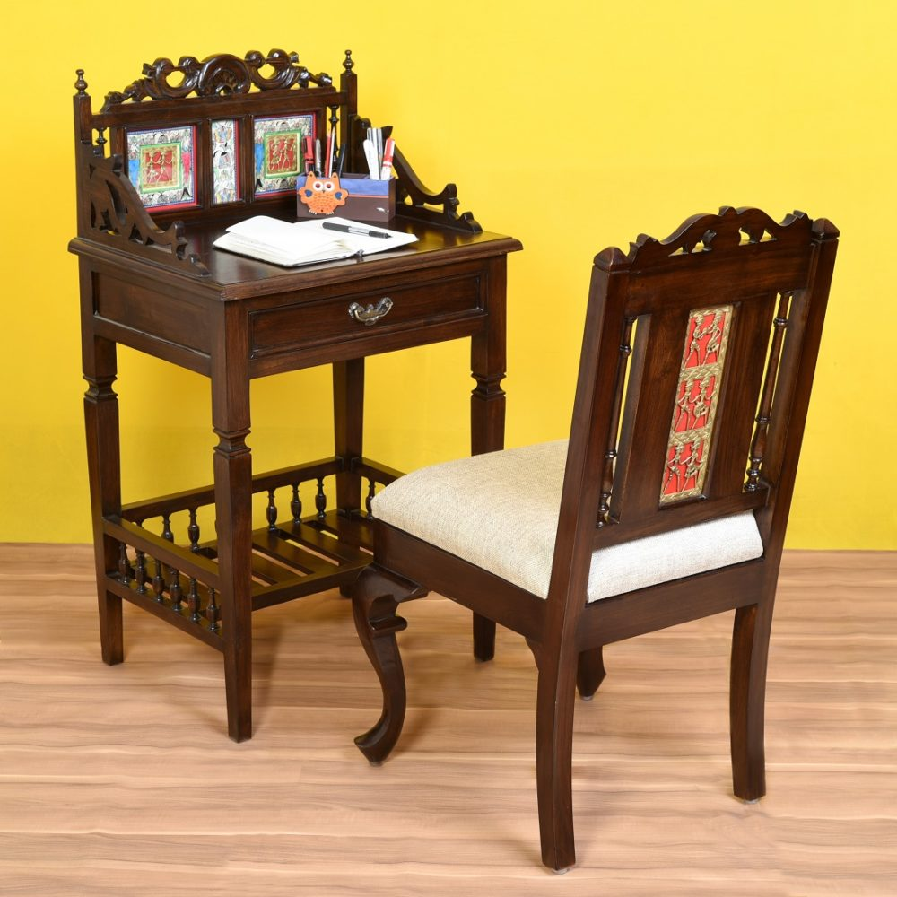 Osho Study Table in Teakwood with Moha Chair in Walnut Finish