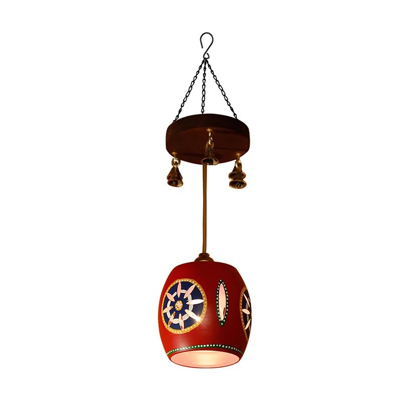 Cona-1 Barrel Shaped Metal Pendant Lamp In Red