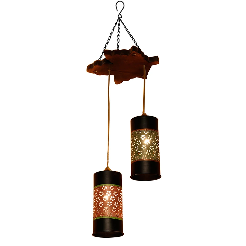 Celo-2 Chandelier With Cylindrical Metal Hanging Lamps (2 Shades)