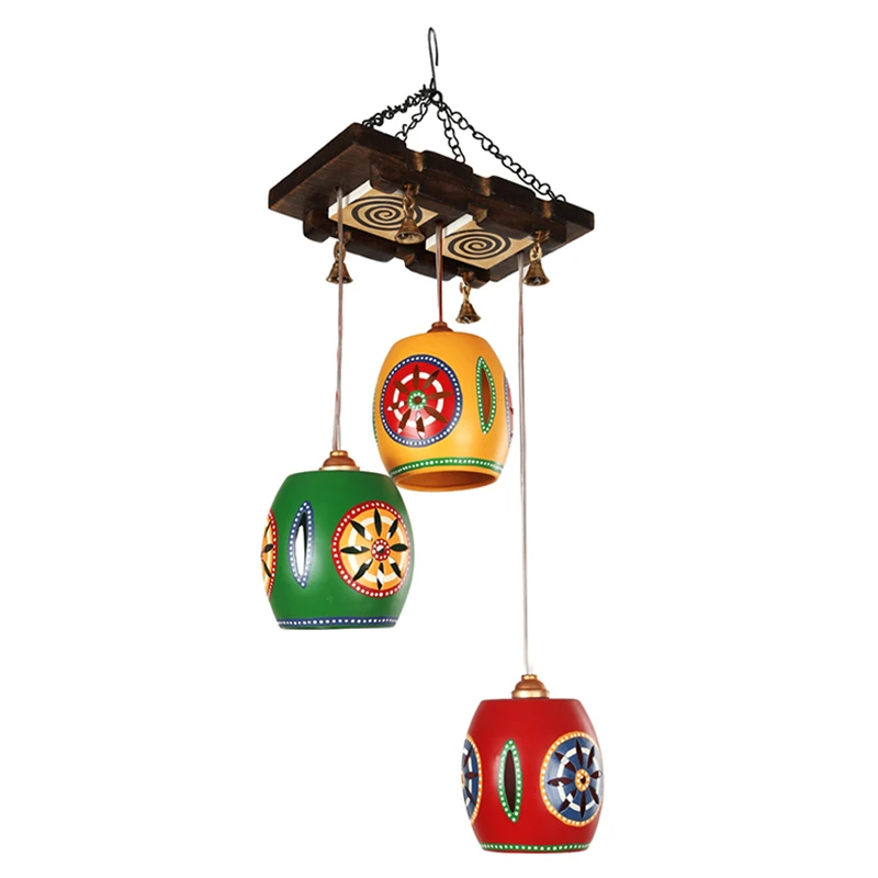 Cona-3 Chandelier With Berral Shaped Metal Hanging Lamps (3 Shades)