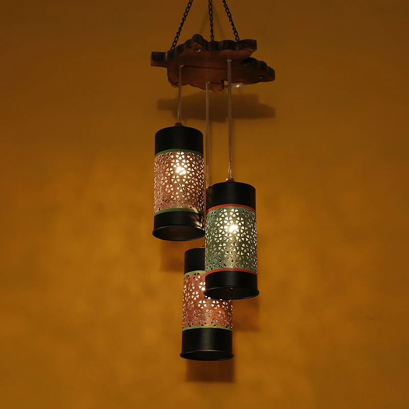 Celo-3 Chandelier With Cylindrical Metal Hanging Lamps (3 Shades)