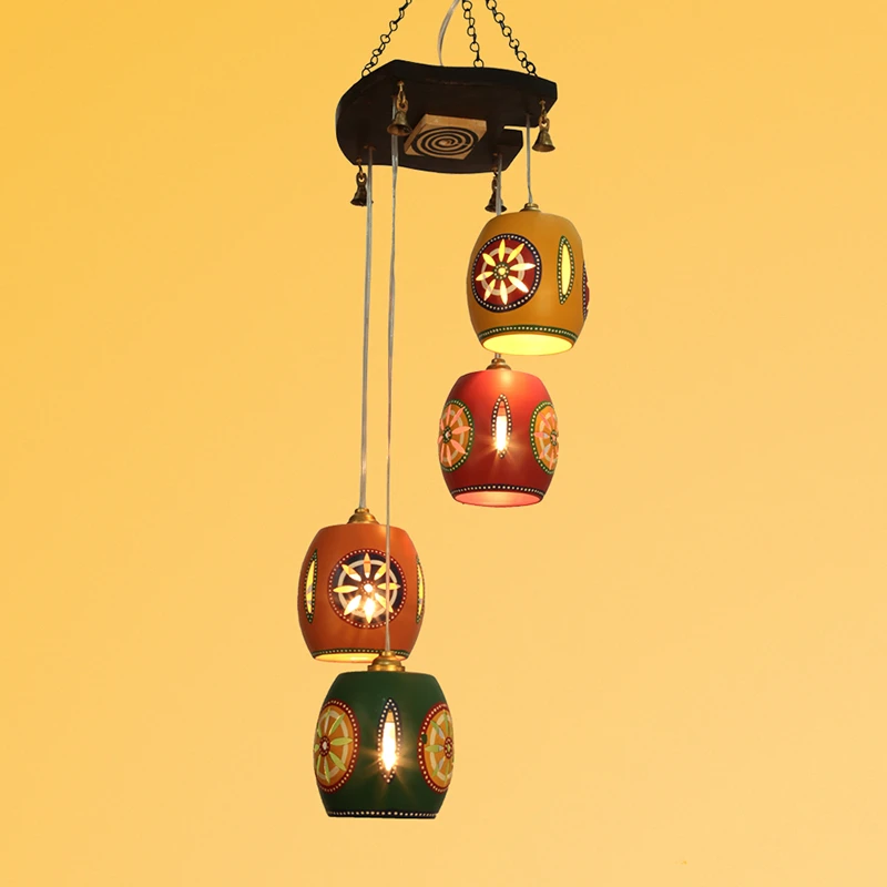 Cona-4 Chandelier With Barrel Shaped Metal Hanging Lamps (4 Shades)
