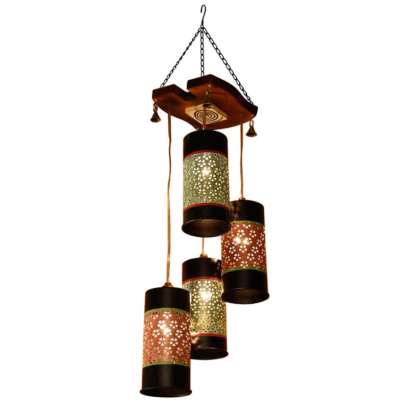 Celo-4 Chandelier With Cylindrical Metal Hanging Lamps (4 Shades)