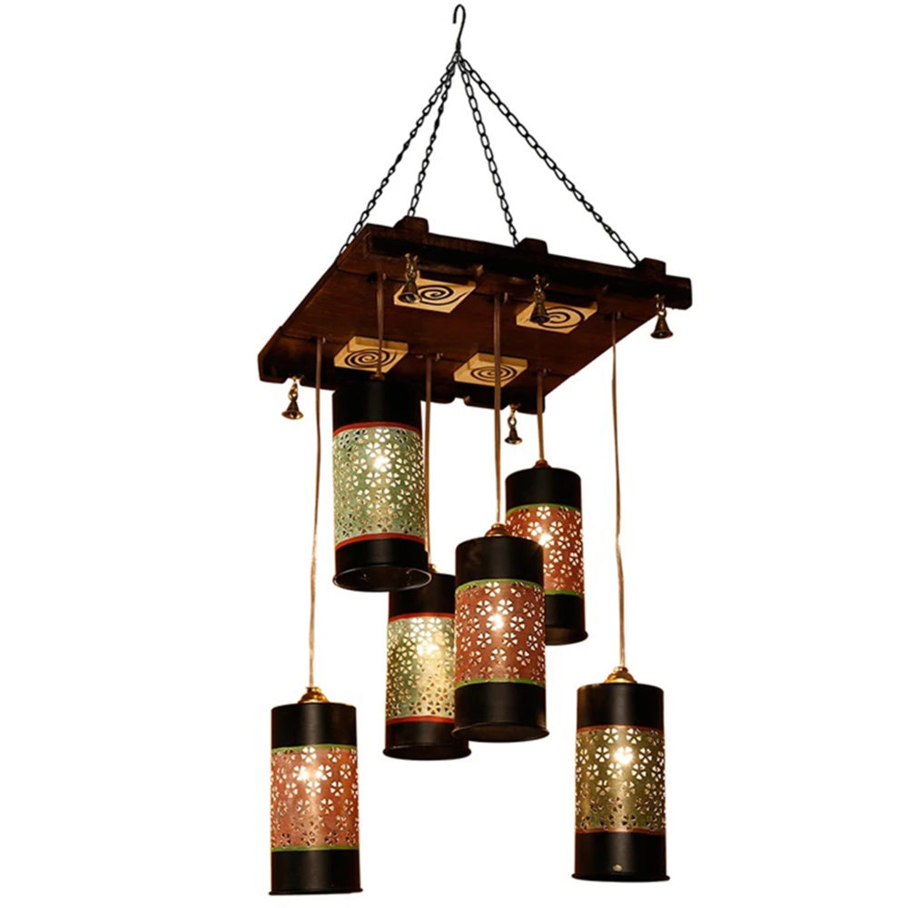 Celo-6 Chandelier With Cylindrical Metal Hanging Lamps (6 Shades)