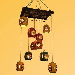 Cona-10 Chandelier With Barrel Shaped Metal Hanging Lamps (10 Shades)