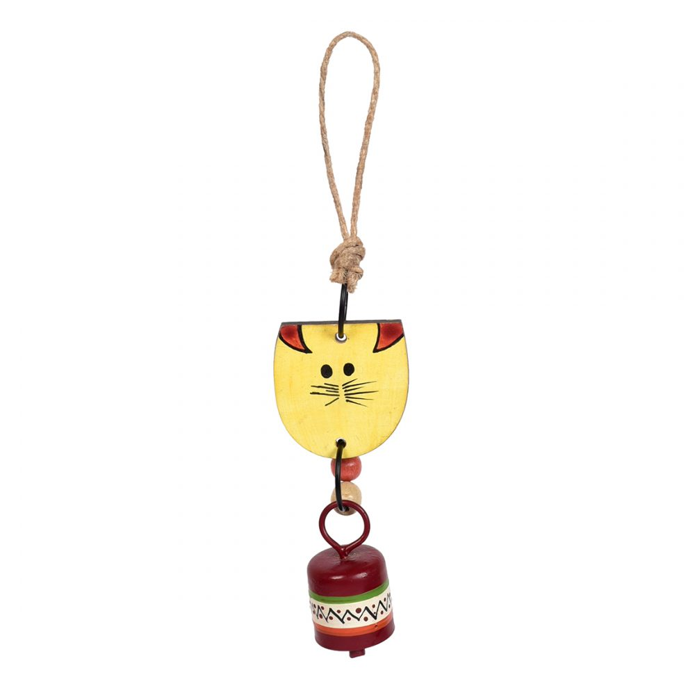 Aakriti Art Creations Handpainted Yellow Wild Cat Wind Chimes with Metal Bell for Outdoor Hanging and Home Decoration