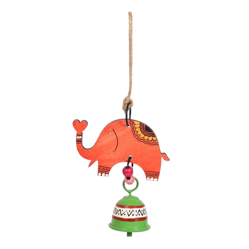 Elephant Wind Chimes with Metal Bell for Outdoor Hanging and Home Decoration