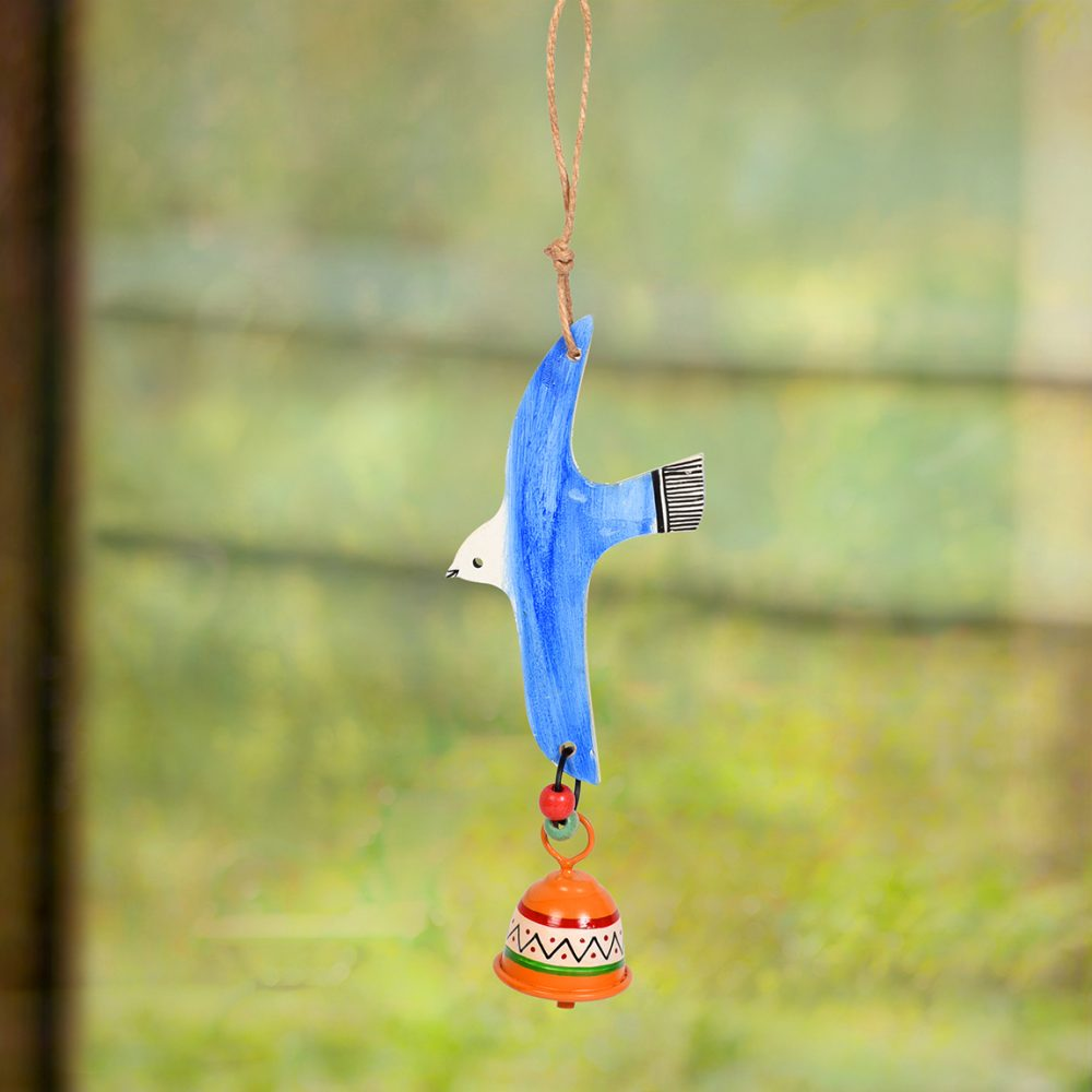 Blue Fly Bird Wind Chimes with Metal Bell for Home Decoration