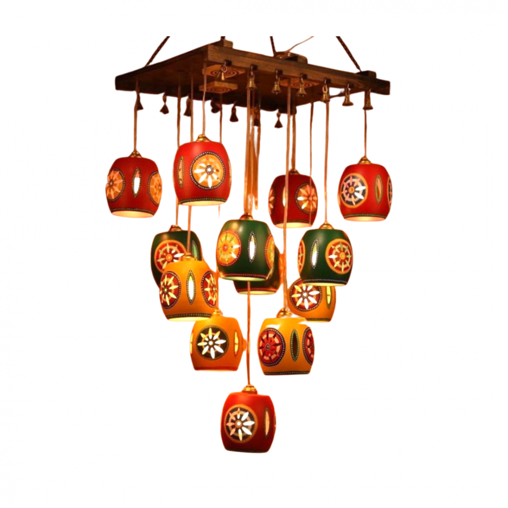 """Cona-13 Chandelier With Barrel Shaped Metal Hanging Lamps (13 Shades) 18x12x29"""""""