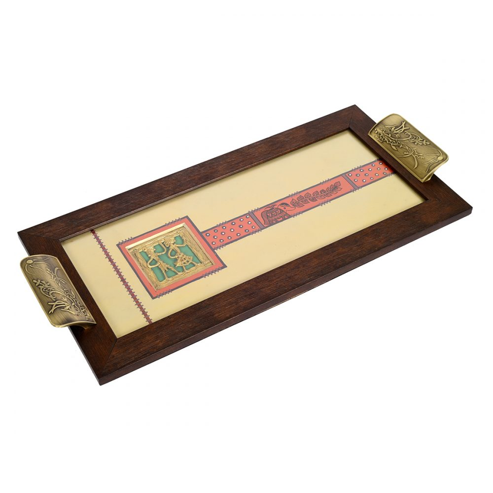 Aakriti Art Creations Wooden Rectangle Serving Tray