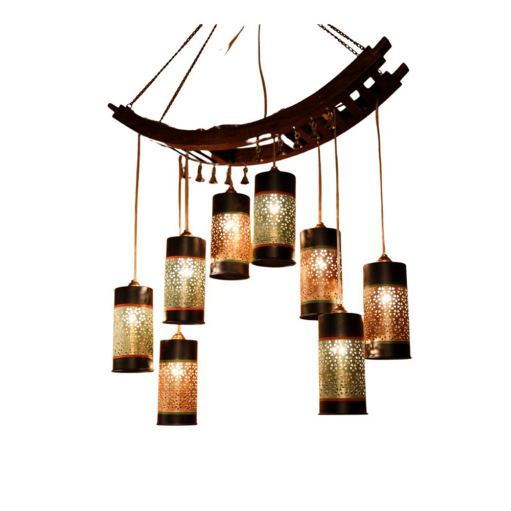 """Celo-8 Chandelier With Cylindrical Metal Hanging Lamps (8 Shades)  24x8x28/40"""" H"""