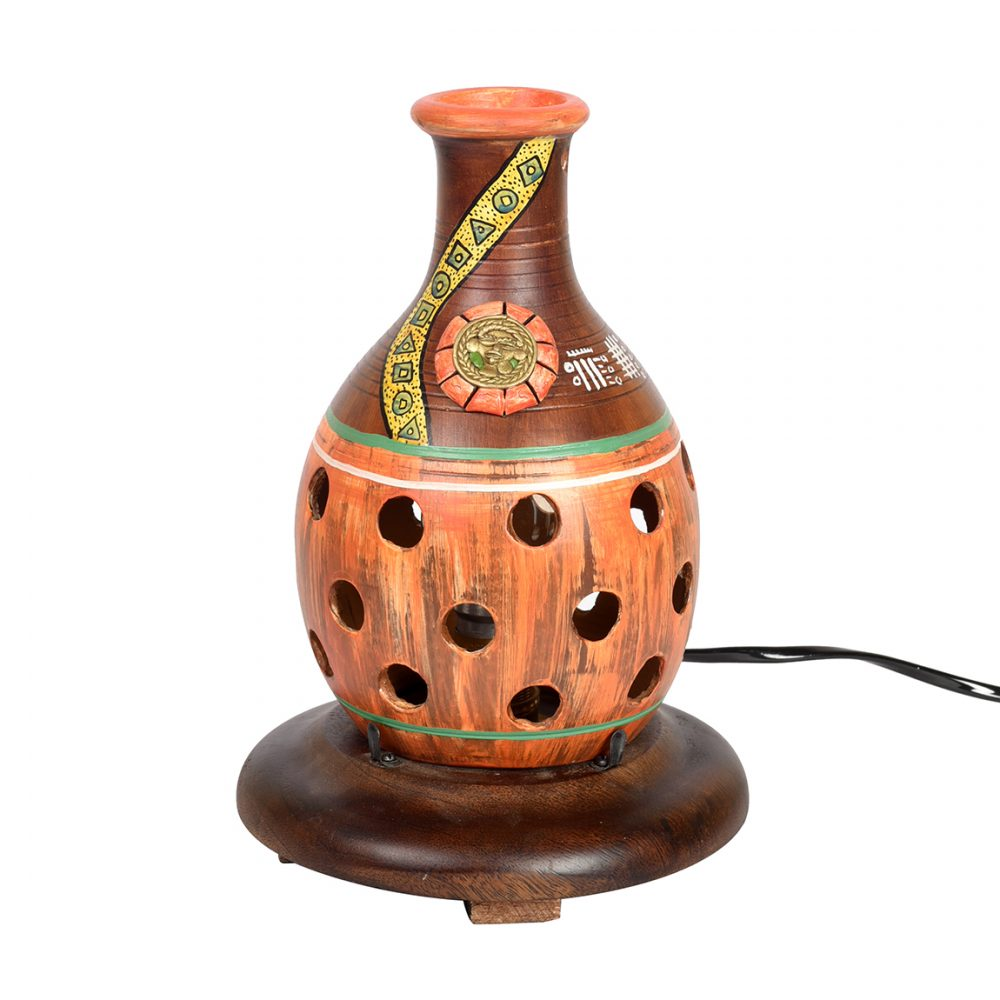 Aakriti Art Creations Handcrafted  Brown Table lamps for Home