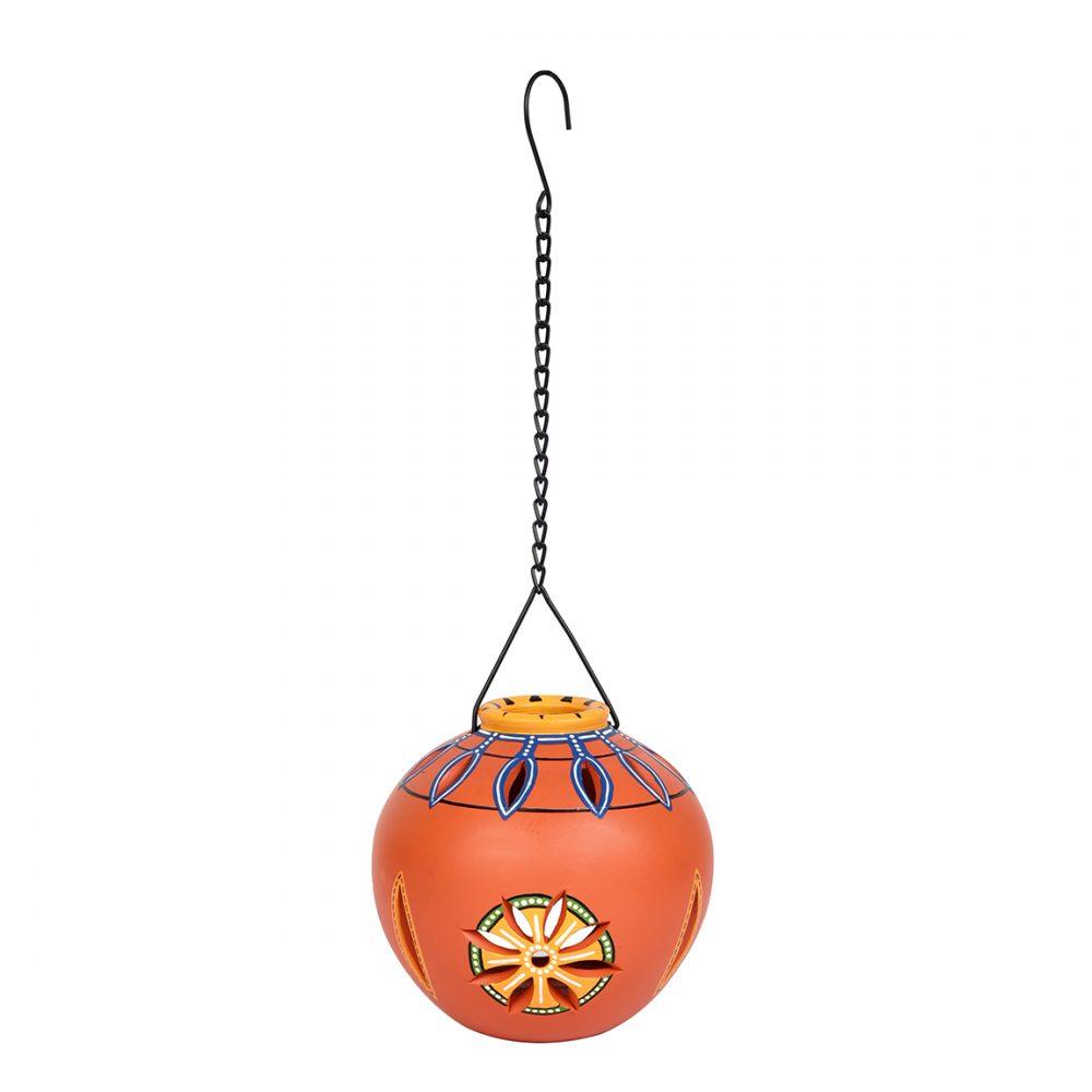 Terracotta Handpainted Orange Hanging Tea light