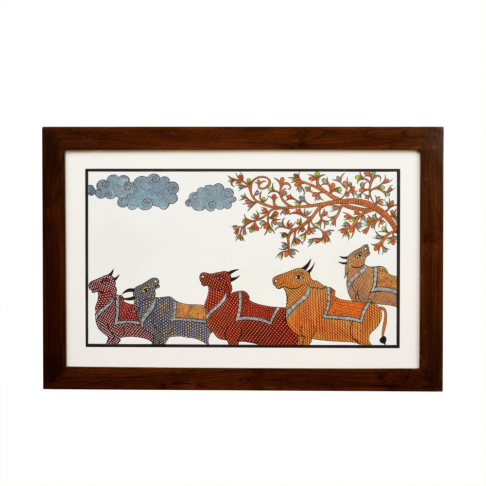 Wall Decor Gond Art Painting Framed with Glass