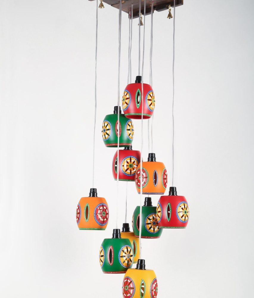 Cona-10 Chandelier With Barrel Shaped Metal Hanging Lamps (10 Shades) 9x9x45