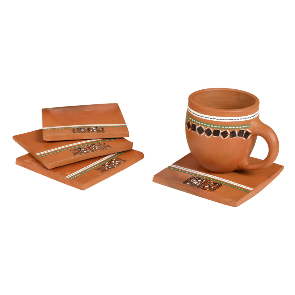 'Back To Earth' Earthen Coasters with Warli Art So4