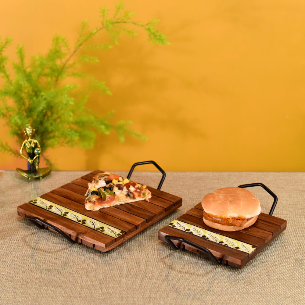 'Leaf of Nature' Snacking Trays in Rosewood-Set of 2