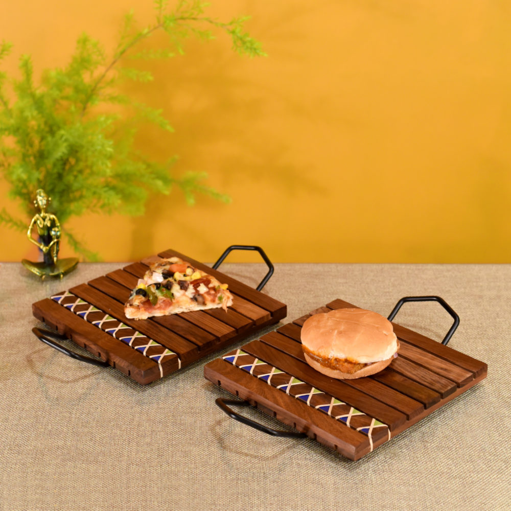 Hand Knitted Snacking Trays in Rosewood with Cane work & Wrought Iron Handles - SO2  (12x8x1.5/12x8x1.5)