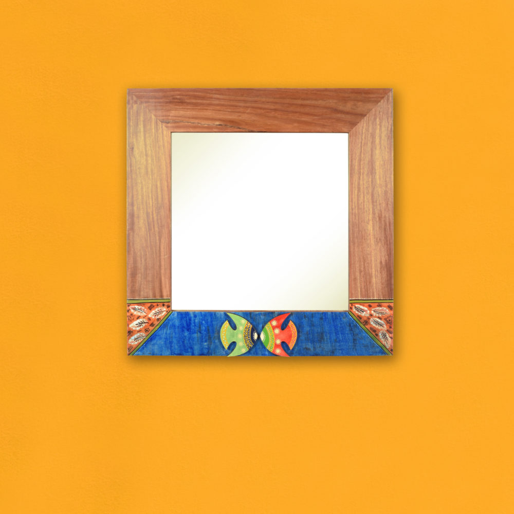 "Nemo Rosewood Mirror with Fish Motifs (21x17"")"