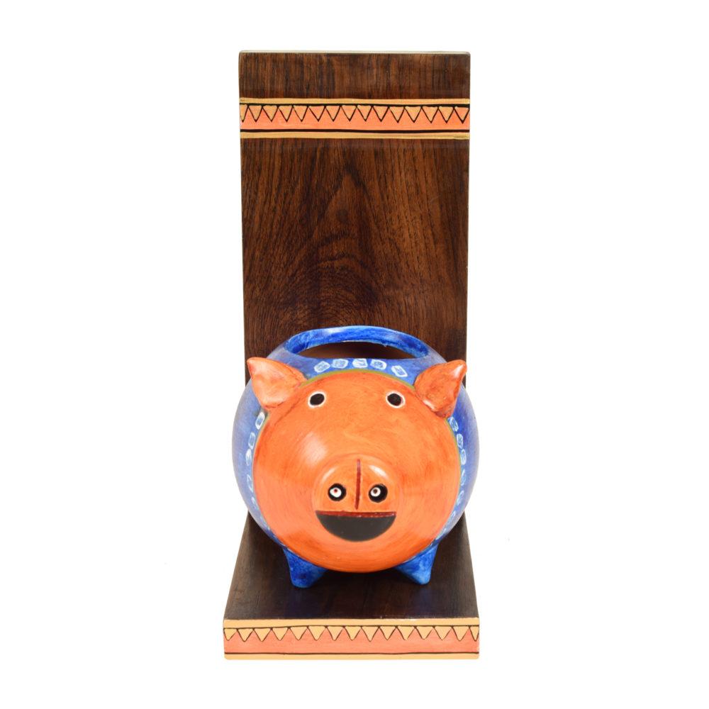 Piggy Wall Decor Shelf with Earthen Planter (5x7x11)