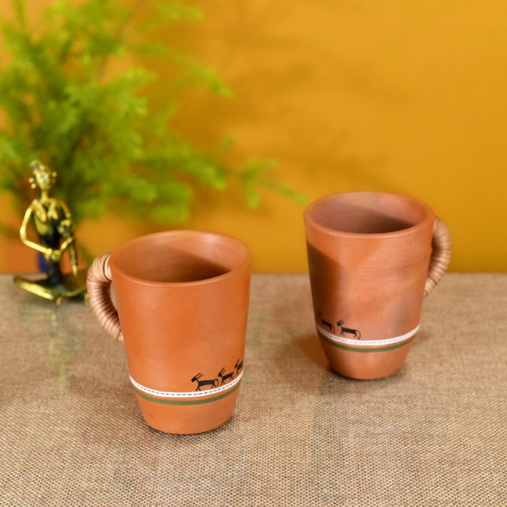 Knosh-5 Earthen Mugs with Caned Handle (Set of 2)